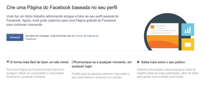 Ferramenta para transformar perfil em página no Facebook