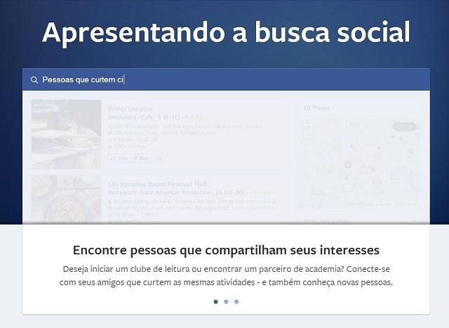 Demonstração da busca social em funcionamento. Usuários faz busca refinado por assuntos.