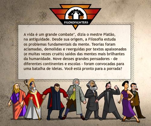Filosofighters, jogo criado pela Abril para introduzir os pensamentos dos principais filosofos.