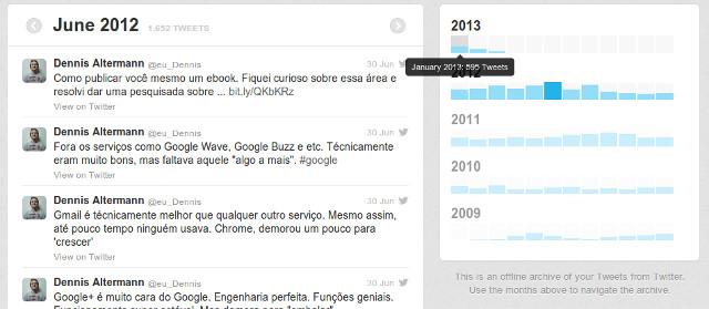 Arquivo do meu Twitter (eu_dennis) contendo todos os meus tweets.