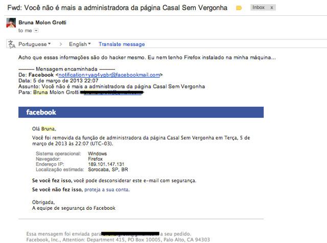 """Email recebido pelos administradores da página """"Casal Sem Vergonha"""" que continha vírus."""