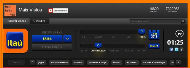 Tela de configurações e filtros dos vídeos mais vistos.