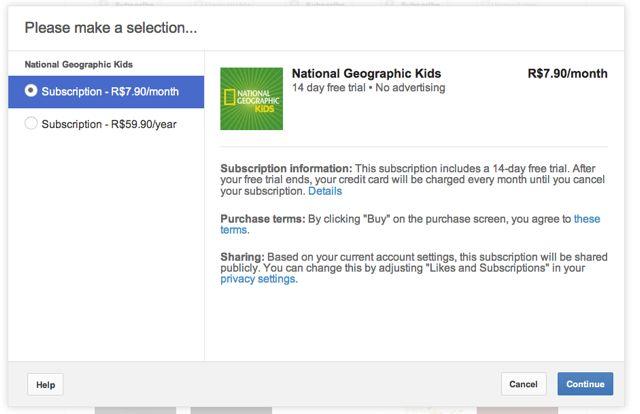 Exemplo de inscrição em canal pago do Youtube