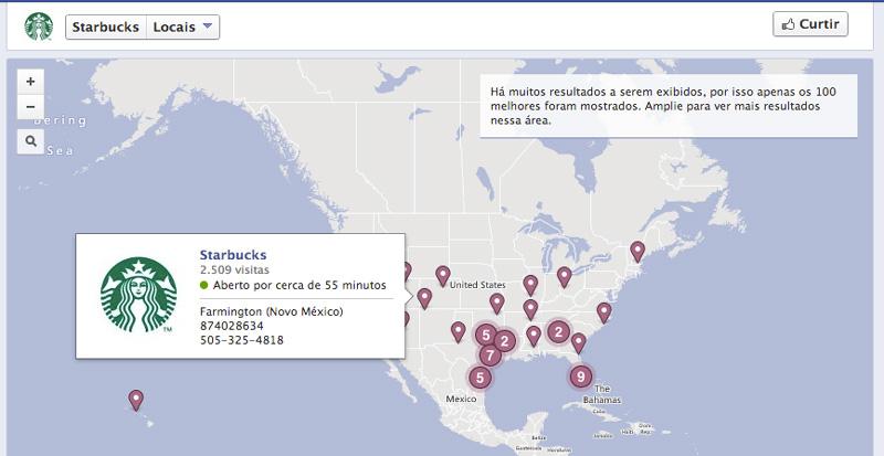Mapa das páginas do Starbucks pelo Mundo