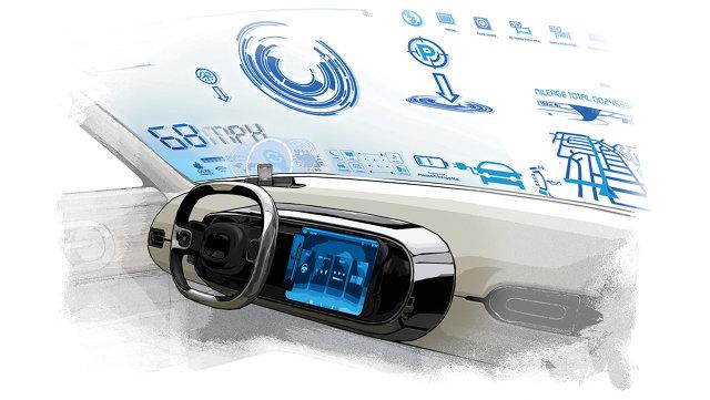 Painel dos carros do futuro, totalmente tecnológico.