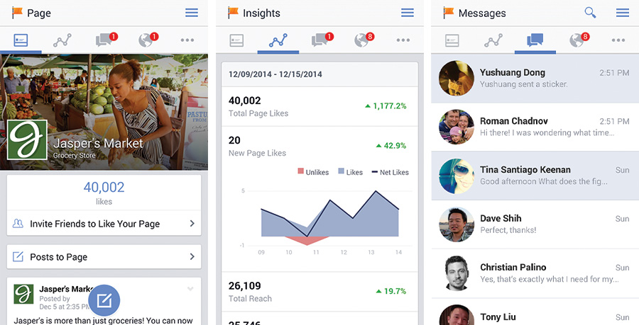 Aplicativo do Facebook para gerenciar página no Android