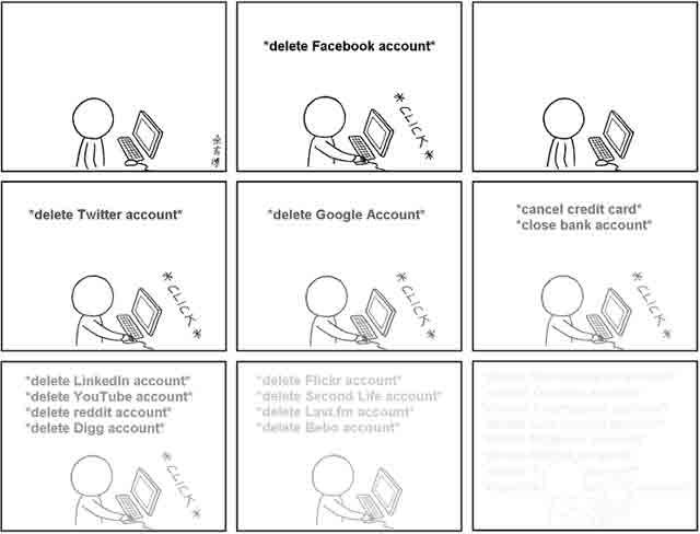 Tirinha sobre deletar vida digital