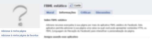 Adicionar aplicativo FBML Estático a sua página