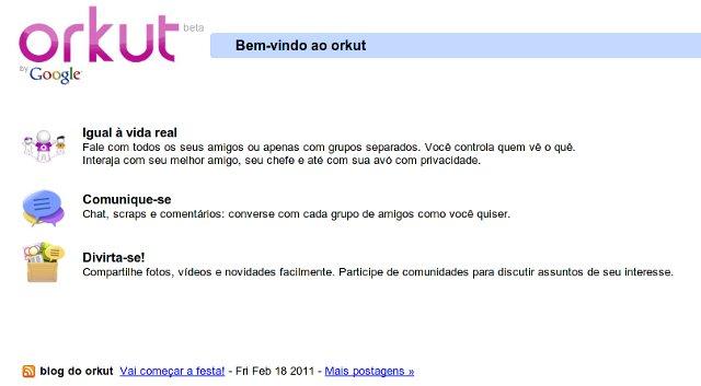 Atual tela inicial do Orkut.com