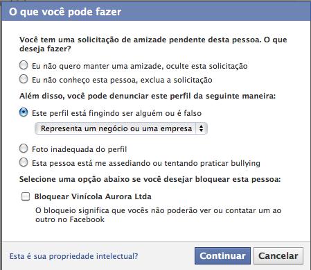 Tela de denúncia de empresas com perfil no Facebook
