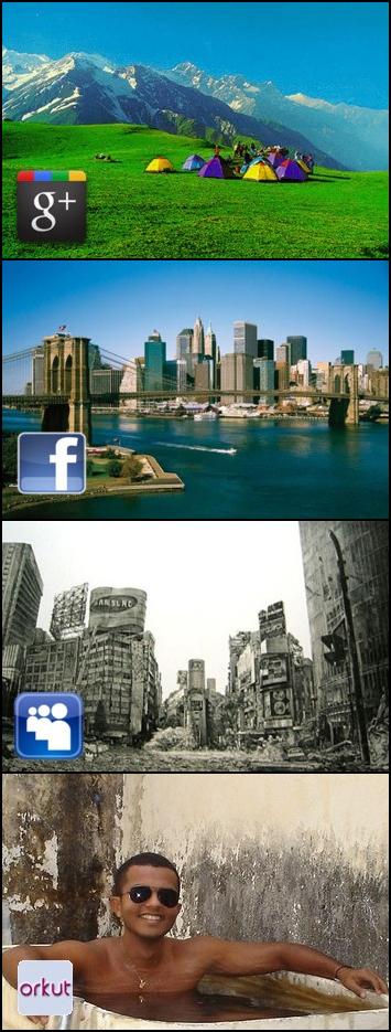 Tirinhas de como as redes sociais seriam se fossem cidades