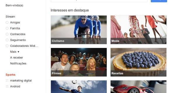 """Tela principal do """"Google+ Sparks"""""""