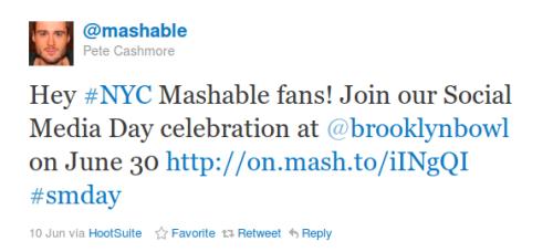 Mensagem do Mashable no #smday