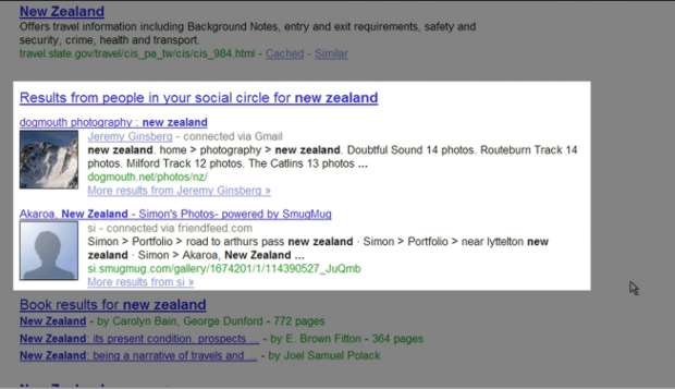 """Modelo """"antigo"""" da integração social do Google (Imagem via Mashable)"""
