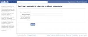 Página de requisição da migração fanpage>perfil