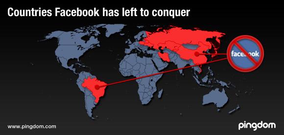 """Mapa com os países onde o Facebook ainda não """"dominou"""""""