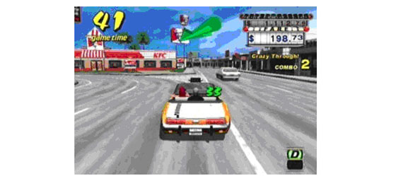 Um exemplo de anúncio fixo, no jogo Taxi Driver.